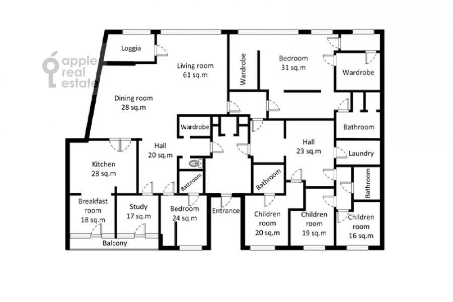 Поэтажный план 6-комнатной квартиры по адресу Коробейников переулок 1