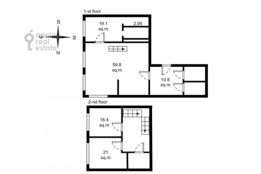 Floor plan of the 4-room apartment at Novyy Arbat 32