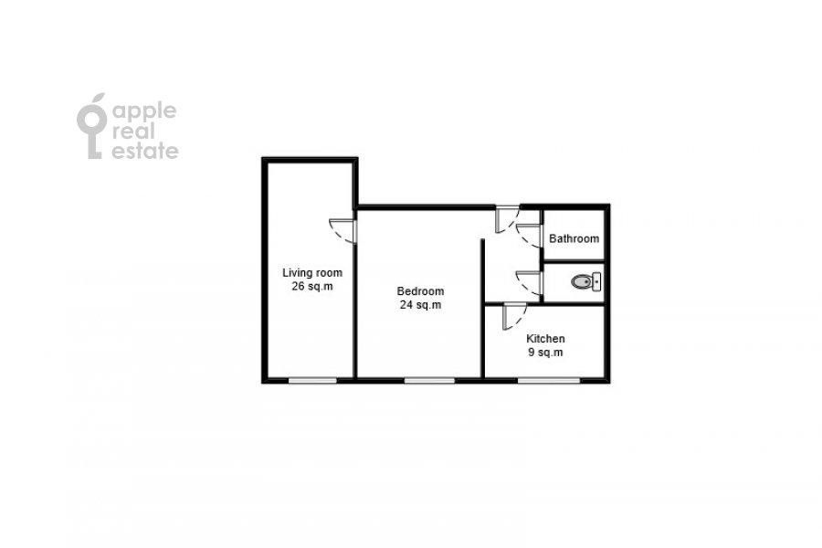 Floor plan of the 2-room apartment at Narodnogo Opolcheniya ul. 11