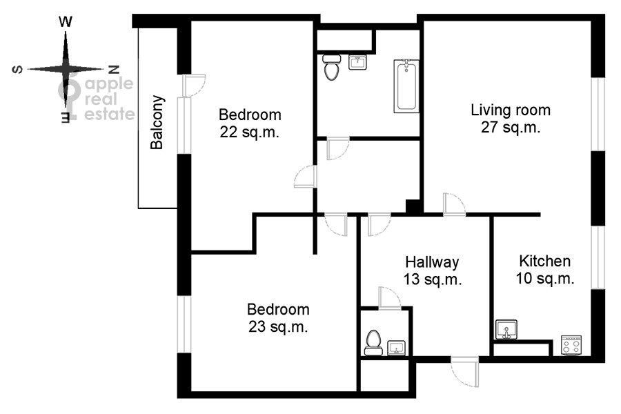 Floor plan of the 3-room apartment at Sukharevskiy Bol'shoy per. 11