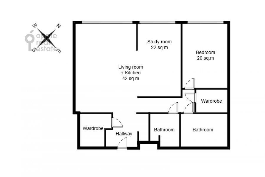 Поэтажный план 2-комнатной квартиры по адресу Улофа Пальме ул. 7