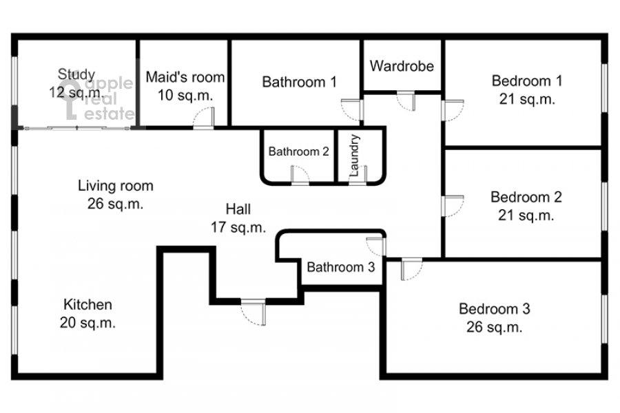 Поэтажный план 5-комнатной квартиры по адресу Еропкинский пер. 16