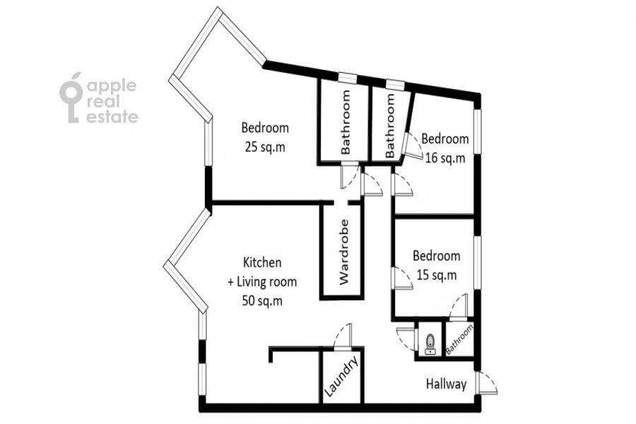 Поэтажный план 4-комнатной квартиры по адресу Коробейников переулок 18