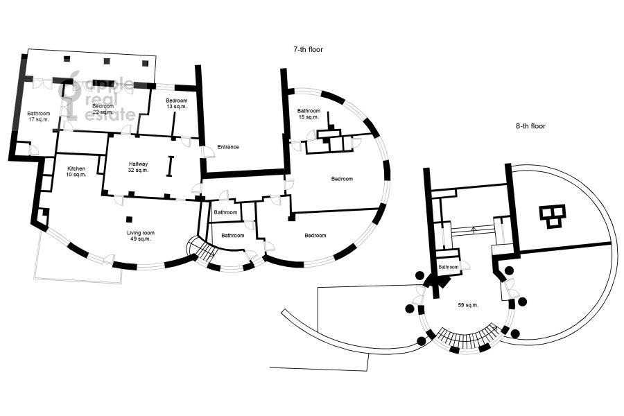 Floor plan of the 5-room apartment at Bol'shoy Kozikhinskiy pereulok 14s2