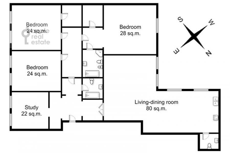 Floor plan of the 5-room apartment at Filippovskiy per. 9