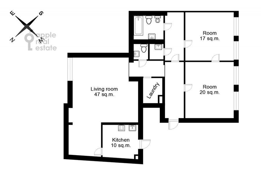 Поэтажный план 3-комнатной квартиры по адресу Тверская ул. 27