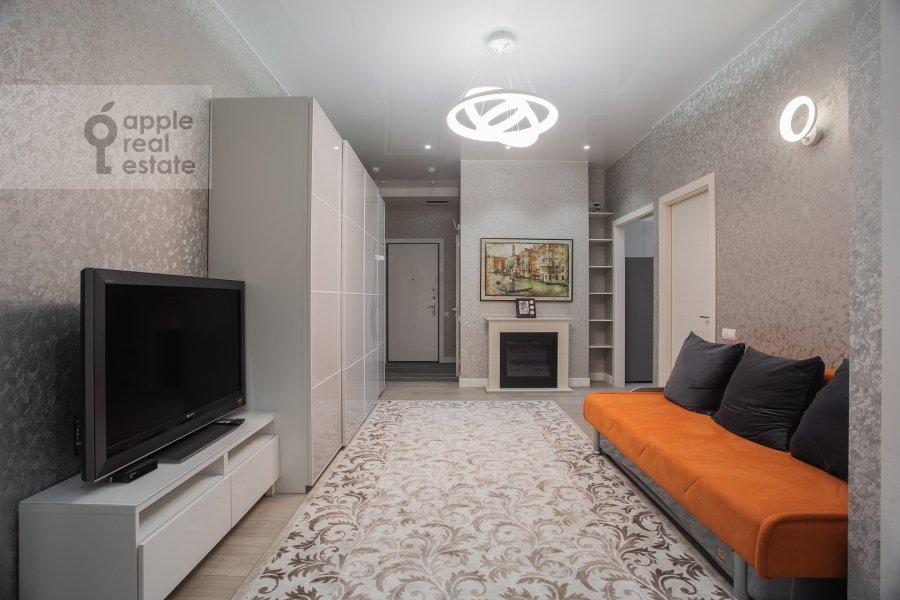 Living room of the 3-room apartment at Shelepikhinskaya naberezhnaya 34k2