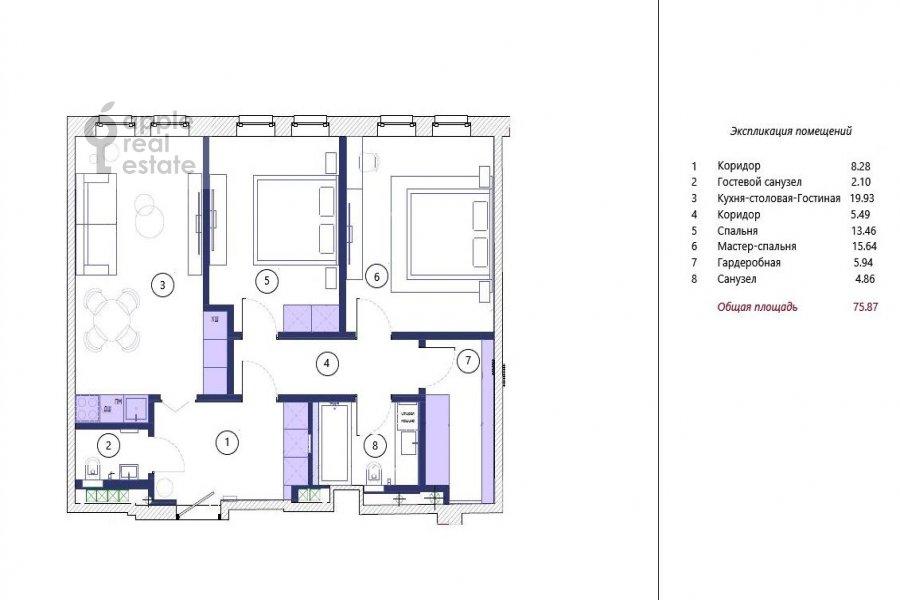 Floor plan of the 3-room apartment at Leninskiy prospekt 95B
