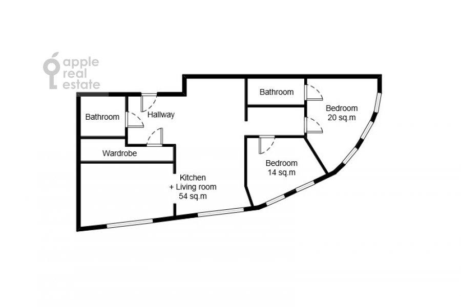 Floor plan of the 3-room apartment at Profsoyuznaya, 64