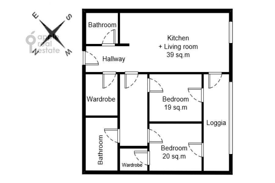 Floor plan of the 3-room apartment at Usacheva ulitsa 9
