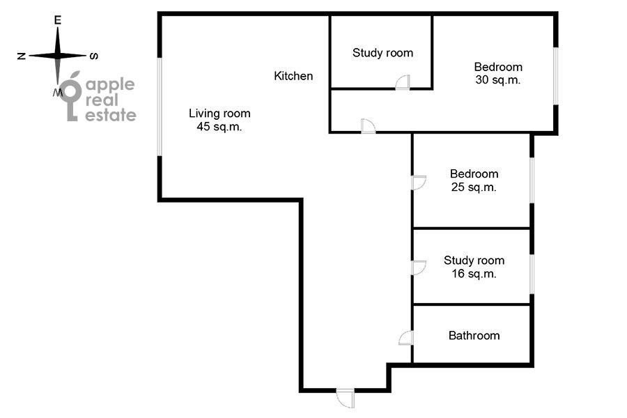 Поэтажный план 4-комнатной квартиры по адресу Ленинградское шоссе 37к1
