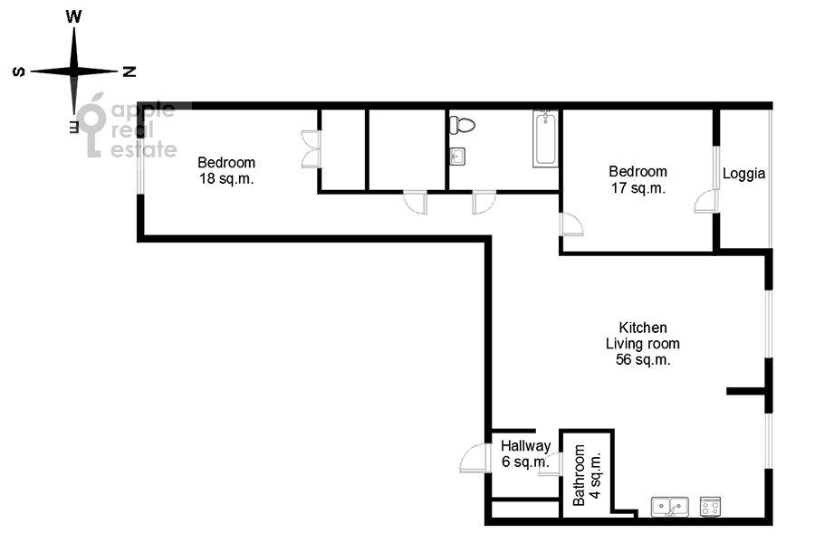 Floor plan of the 3-room apartment at Dmitrovskoe shosse 13