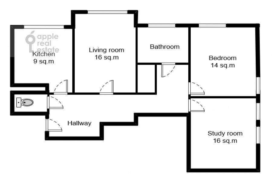 Floor plan of the 3-room apartment at Karamyshevskaya naberezhnaya 12k1