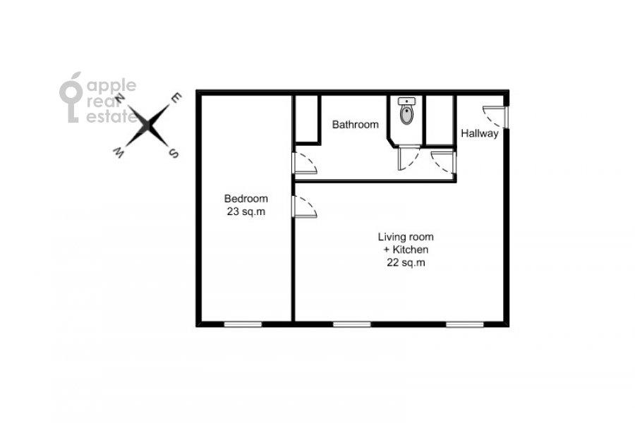 Floor plan of the 2-room apartment at Kosmodamianskaya nab. 36