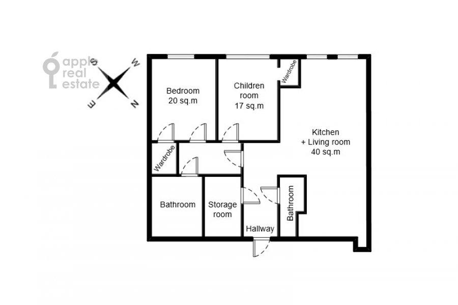 Поэтажный план 3-комнатной квартиры по адресу Мосфильмовская улица 8