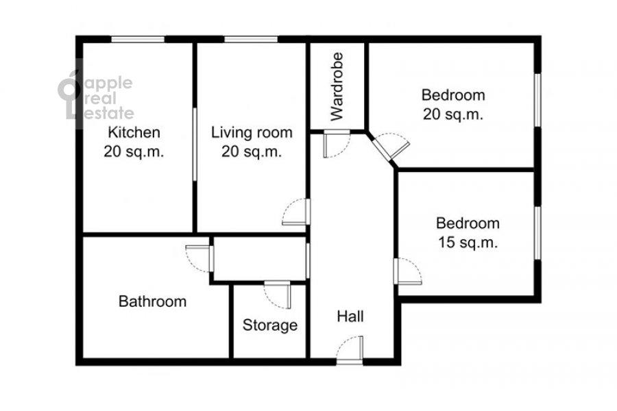 Поэтажный план 3-комнатной квартиры по адресу Сергея Макеева ул. 1
