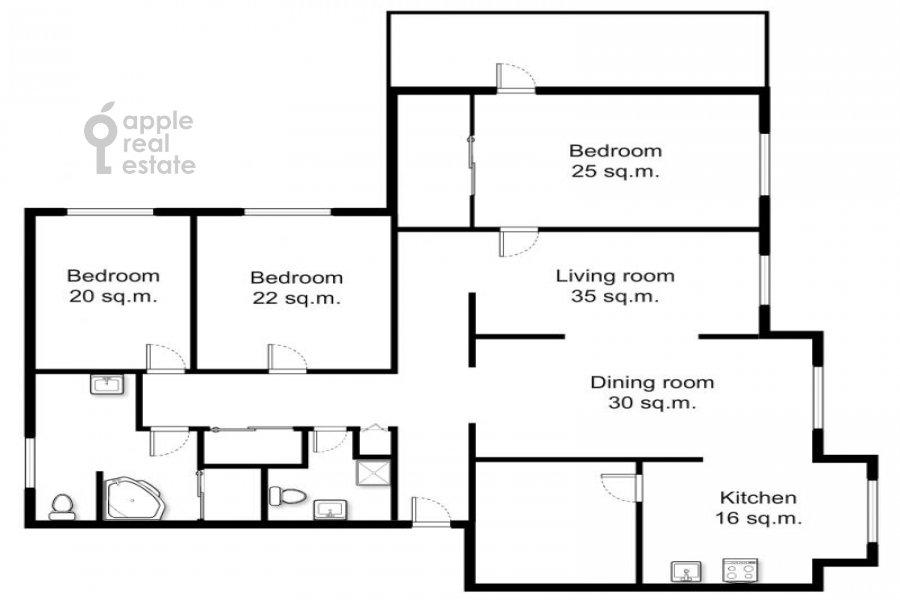Floor plan of the 5-room apartment at Sergeya Makeeva ul. 1