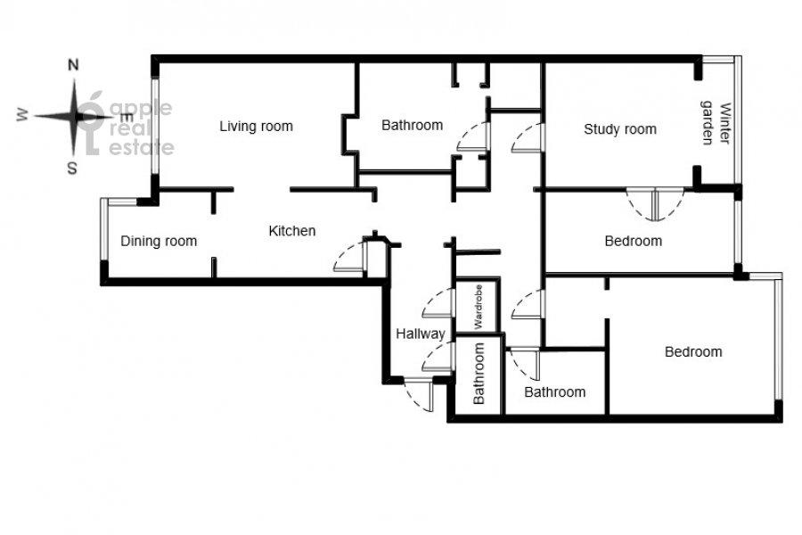 Floor plan of the 4-room apartment at Filippovskiy pereulok 8