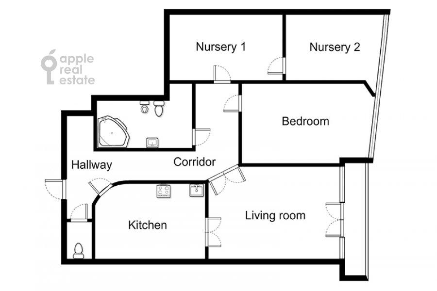 Floor plan of the 3-room apartment at Nezhinskaya ul. 1k2