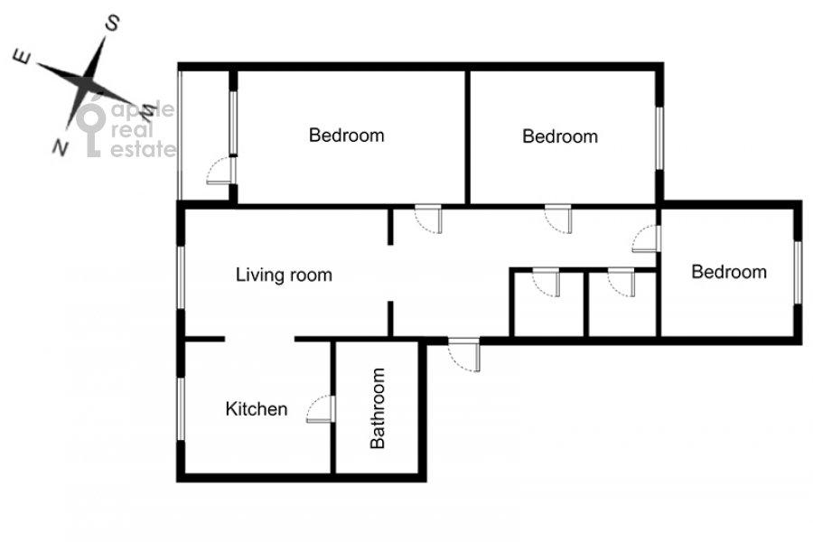 Floor plan of the 4-room apartment at Sergeya Makeeva ul. 1