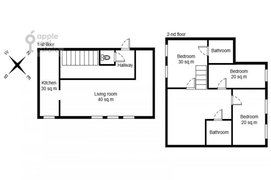 Floor plan of the 4-room apartment at Frunzenskaya naberezhnaya 36/2