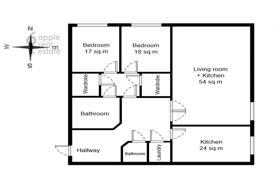 Floor plan of the 3-room apartment at Zvenigorodskaya ulitsa 8k1