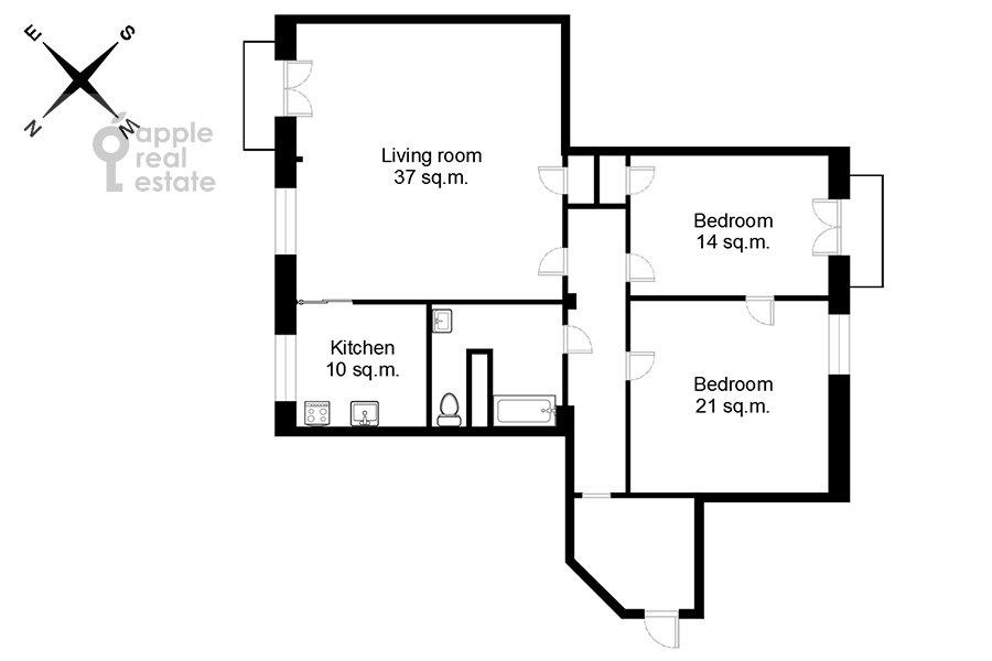 Поэтажный план 3-комнатной квартиры по адресу Фрунзенская набережная 28