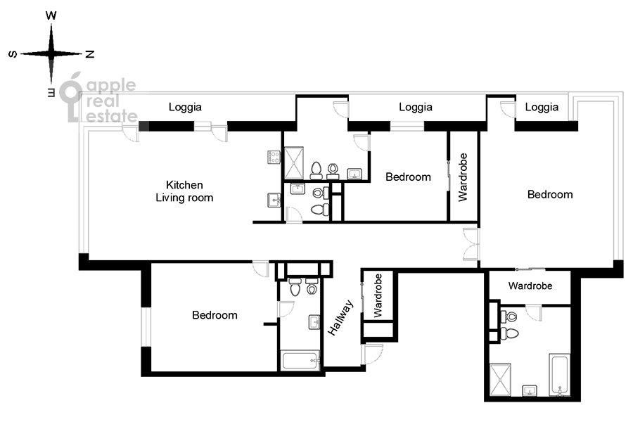 Поэтажный план 4-комнатной квартиры по адресу Минская улица 2ВкА
