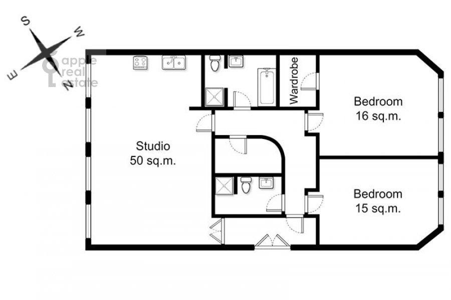 Поэтажный план 3-комнатной квартиры по адресу Армянский пер. 7