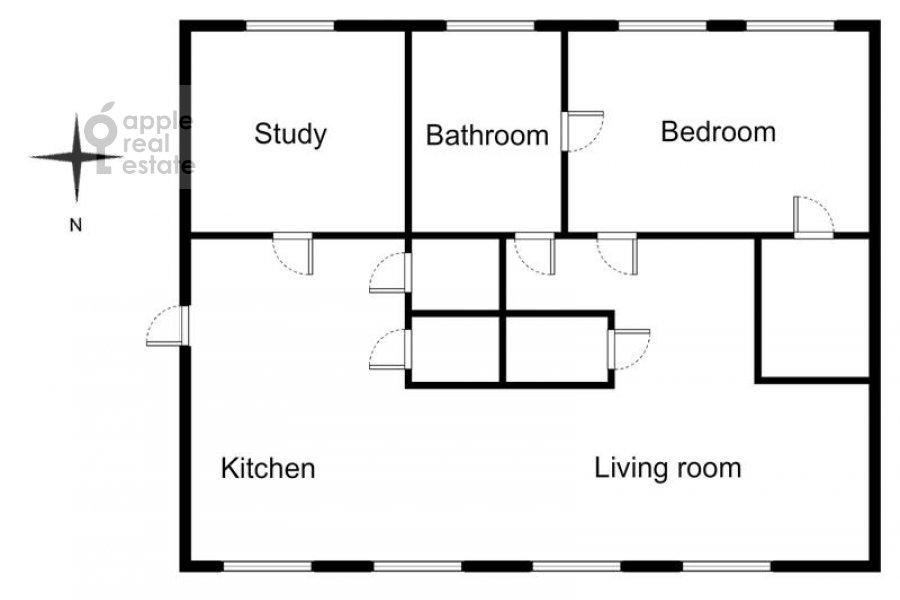 3-комнатная квартира по адресу Трубниковский пер. 24с1