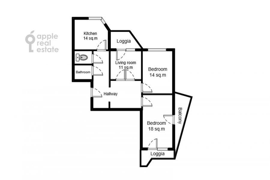 Поэтажный план 3-комнатной квартиры по адресу Сходненская 3