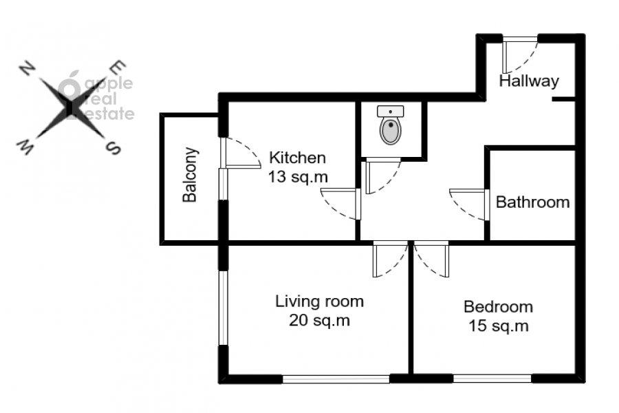 Поэтажный план 2-комнатной квартиры по адресу Красногвардейский бульвар 15с2