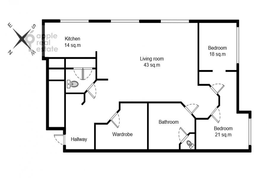 Floor plan of the 3-room apartment at Malaya Filevskaya ulitsa 40k1