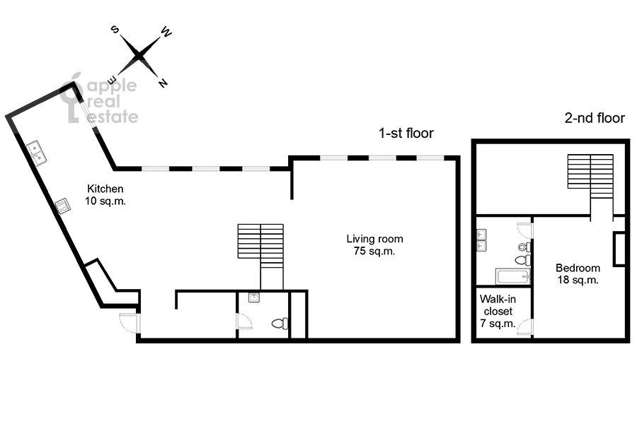 Поэтажный план 2-комнатной квартиры по адресу Никольская ул. 10/2c2б