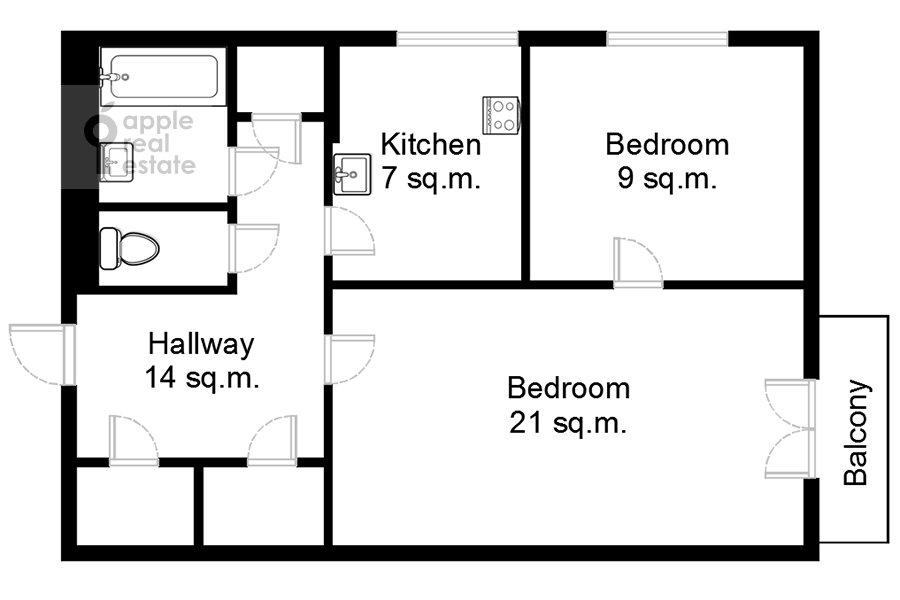 Floor plan of the 2-room apartment at prospekt Mira 124k19