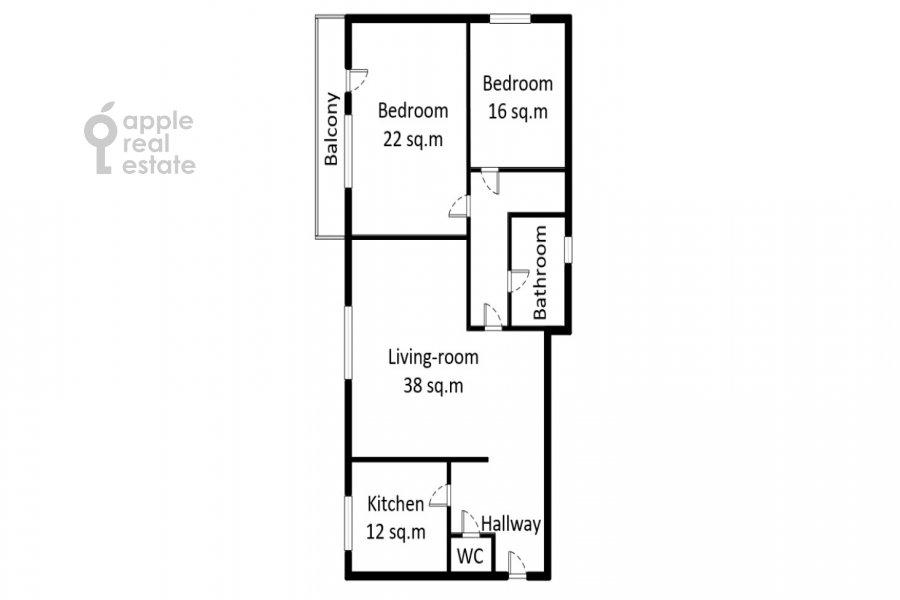 Поэтажный план 3-комнатной квартиры по адресу Спиридоновка ул. 12