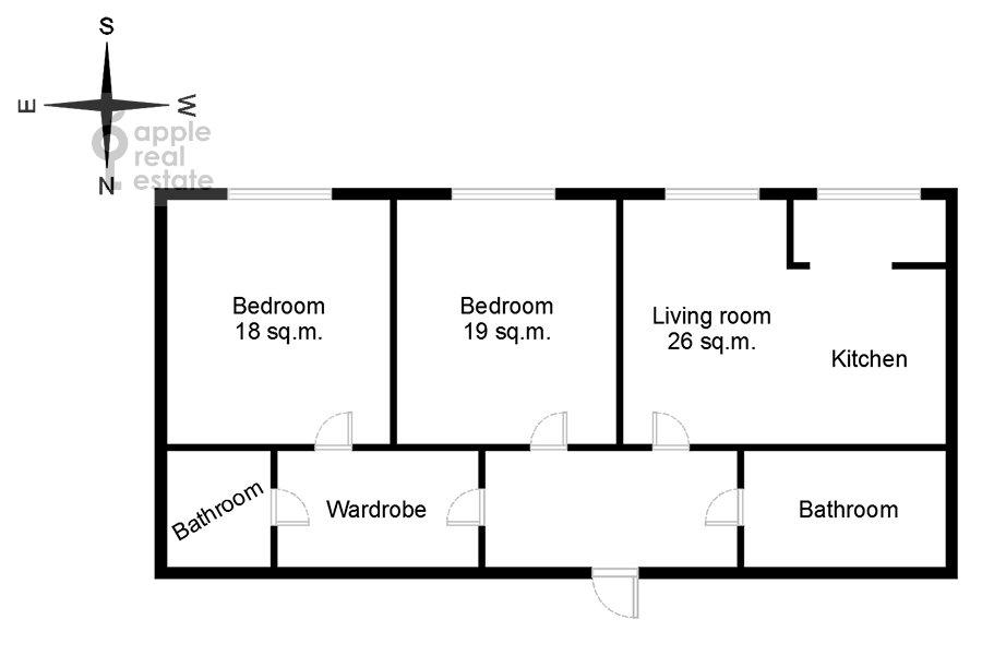 Floor plan of the 3-room apartment at Leningradskiy prospekt 35s2