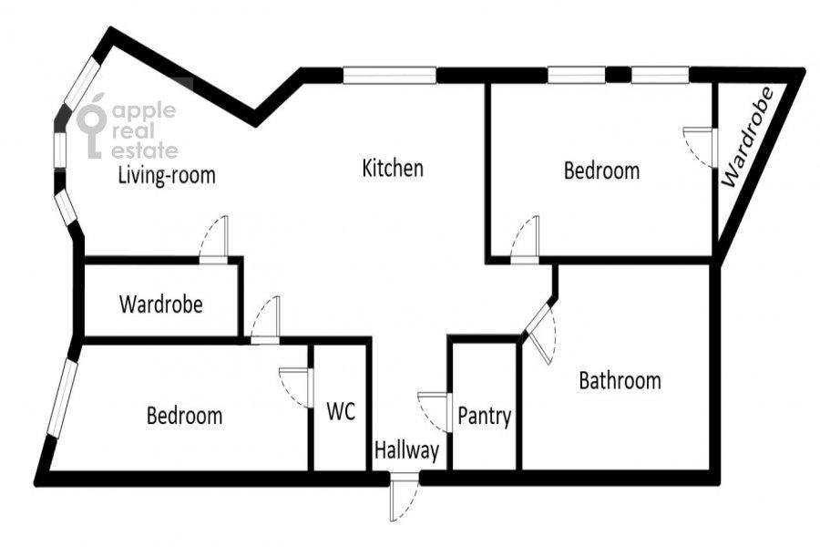 Floor plan of the 3-room apartment at Marshala Zhukova pr-t. 78