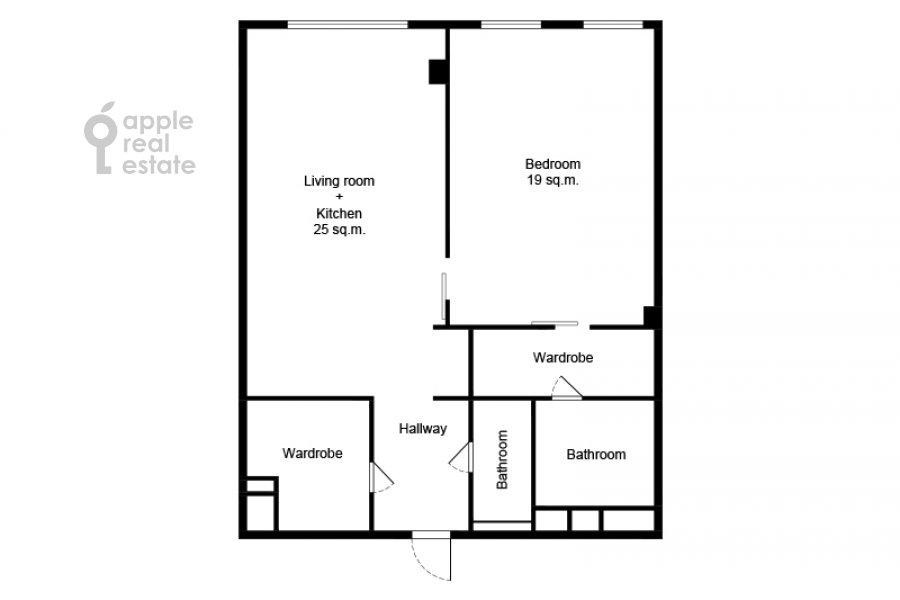 Поэтажный план 2-комнатной квартиры по адресу Поварская улица 8к1