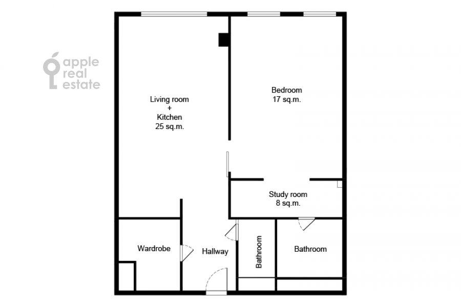 Floor plan of the 2-room apartment at Povarskaya ulitsa 8k1
