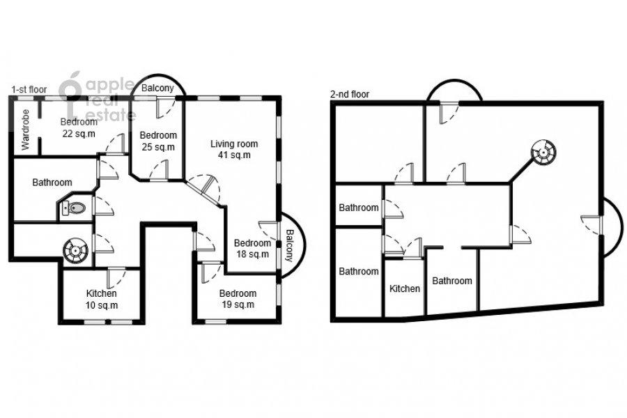 Floor plan of the 6-room apartment at Ostozhenka 3/14