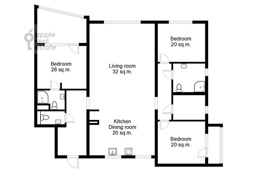 Floor plan of the 5-room apartment at Spiridonovka 18