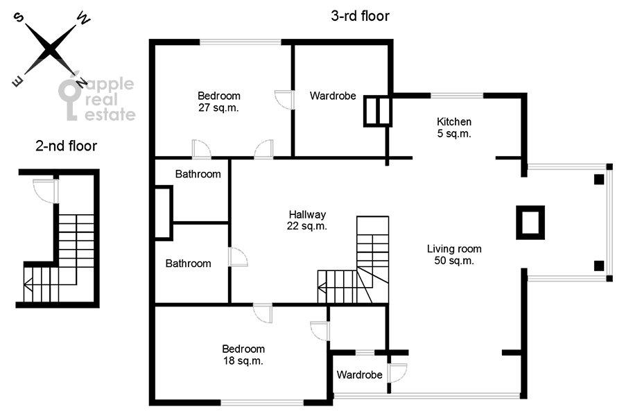 Поэтажный план 3-комнатной квартиры по адресу жилой комплекс Ангелово-Резиденц 83