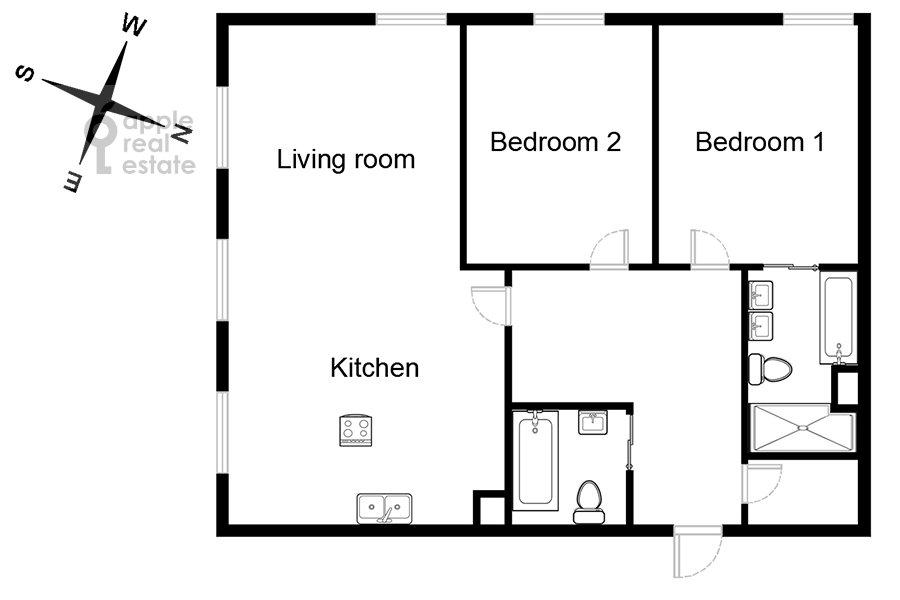 Поэтажный план квартиры-студии по адресу Полянка Большая ул. 44