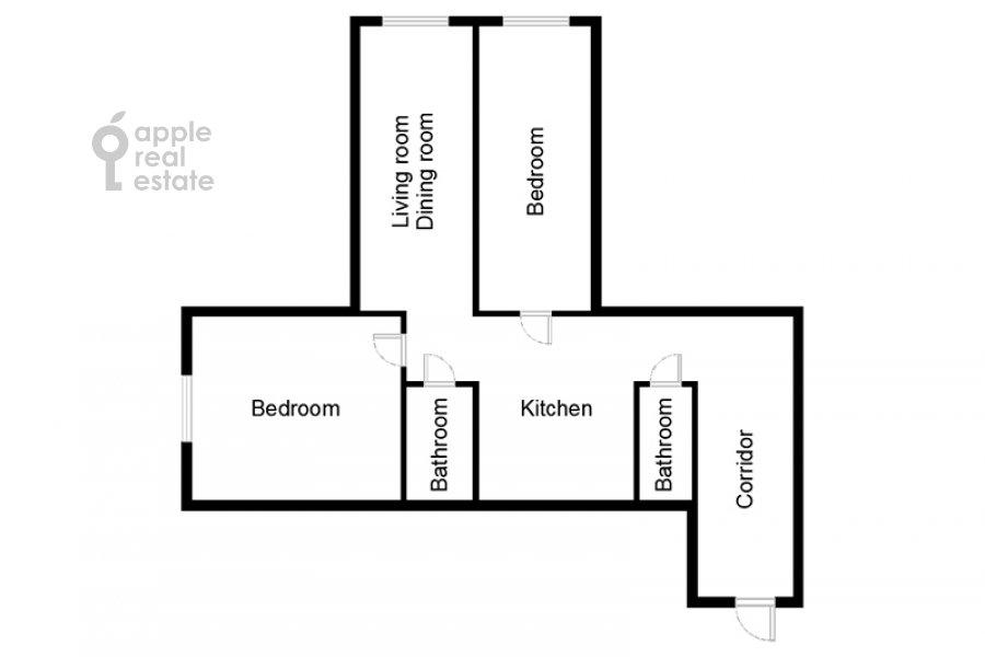 Поэтажный план 3-комнатной квартиры по адресу Хорошевское ш. 12с1