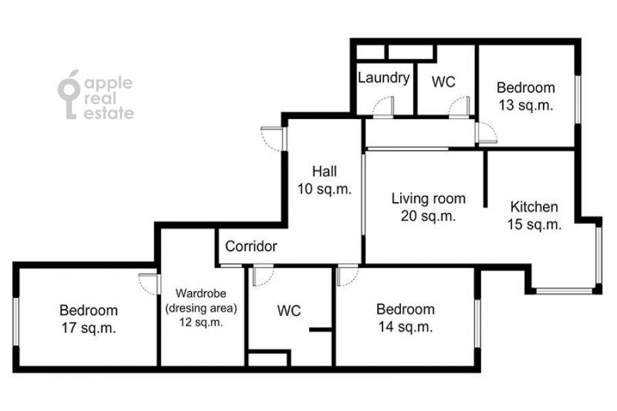 Floor plan of the 4-room apartment at Raspletina ul. 22k2