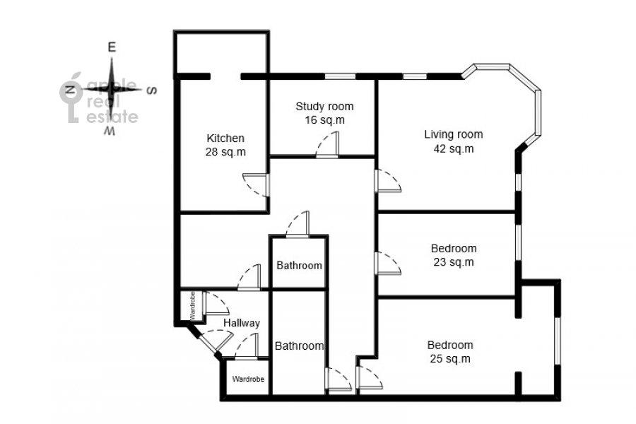 Floor plan of the 4-room apartment at Davydkovskaya ulitsa 3