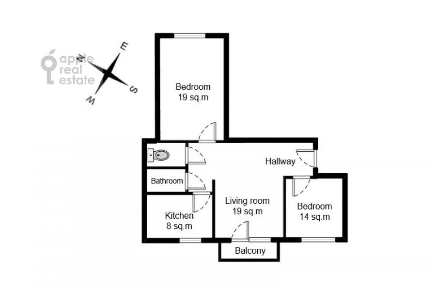 Floor plan of the 3-room apartment at Poklonnaya ulitsa 4
