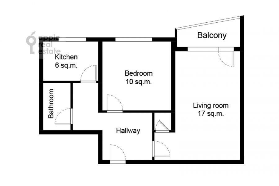 Floor plan of the 2-room apartment at Miklukho-Maklaya 51/1