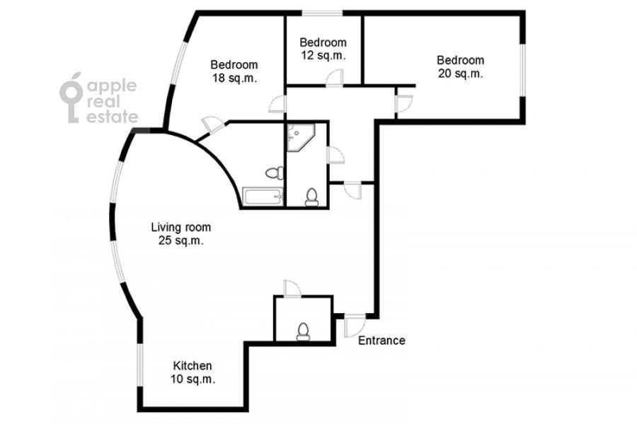Поэтажный план 4-комнатной квартиры по адресу Карамышевская набережная 48к2